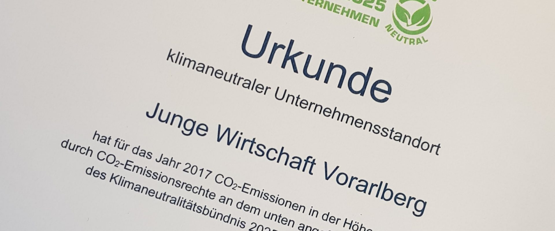 Klimaneutralitätsbündnis 2025: Junge Wirtschaft Vorarlberg erneut zertifiziert